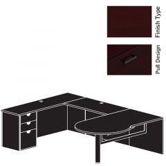"Cherryman Jade Series U-Desk, 48"" Bridge, Single Pedestal, & Glass Modesty Panel - Right Configuration"