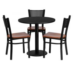 """HUSKY Seating® 30"""" Round Black Laminate Round Base Table Set With 3 Grid Back Black Banquet Chairs"""