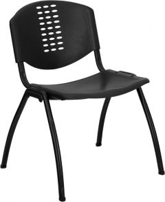HUSKY Seating® 800 LB Black Compact Designer Stack Chair with Perforated Back