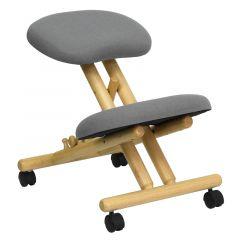 Gray Fabric Mobile Wood Ergonomic Kneeling Chair
