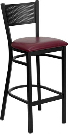 HUSKY Seating® Heavy Duty 500 LB Restaurant Bar Stool with Grid Back
