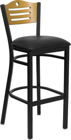 HUSKY Seating® Heavy Duty 500 LB Metal Bar Stool with Natural Wood Slat Back