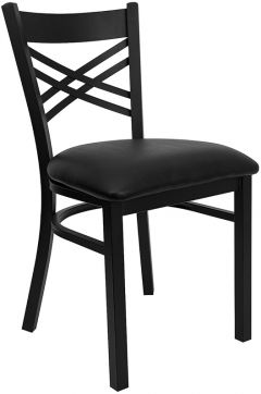 "HUSKY Seating® Black Metal 500 LB Restaurant Chair with ""X"" Back"