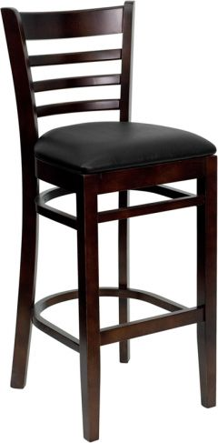 HUSKY Seating® Walnut Finish Wood Restaurant 800 LB Bar Stool with Ladder Back & Padded Vinyl Seat