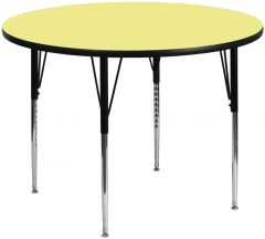 """Heavy Duty 60"""" Round Thermal Fused Laminate Height Adjustable Activity Table"""