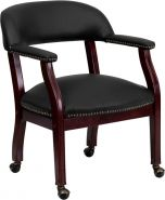 Black Leather & Brass Nail Trim Reception Side Chair with Wheels