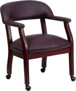 Burgundy Leather & Brass Nail Trim Conference or Reception Side Chair with Wheels