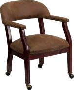 Brown Captain's Chair Conference or Reception Side Chair with Wheels