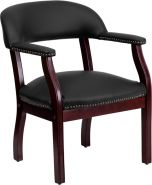 Traditional Black Leather & Brass Nail Trim Conference or Reception Side Chair