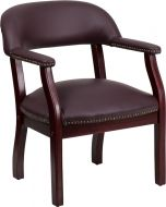 Traditional Burgundy Leather & Brass Nail Trim Conference or Reception Side Chair