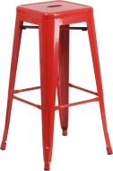 """HUSKY Seating® 500 LB Modern 30"""" Indoor-Outdoor Stacking Metal Bar Stool with Square Seat"""