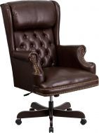High Back Tufted Pillow Leather Executive Swivel Office Chair with Rolled Headrest