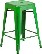 "HUSKY Seating® 500 LB Distressed Counter Height 24"" Indoor-Outdoor Stacking Metal Bar Stool with Square Seat"