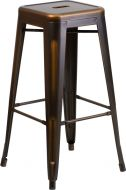 "HUSKY Seating® 500 LB Vintage Style 30"" Indoor-Outdoor Stacking Distressed Copper Metal Bar Stool with Square Seat"