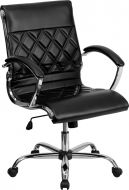 Modern Designer Mid Back Office Chair with Chrome Base & Padded Arms