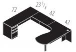 "Cherryman Verde Series Arc End U-Desk, Full Pedestal, 42"" Bridge, Left Configuration"