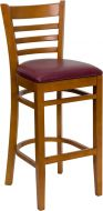 HUSKY Seating® Cherry Finish 800 LB Bar Stool with Ladder Back & Padded Vinyl Seat